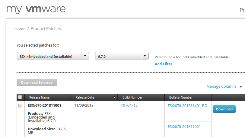 Minor updates available on VMware patches portal